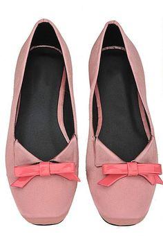 Elegant Square Toe Bowknot Detail Ballet Flats in Peach  $31.00