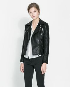 ZARA MOTORCYCLE JACKET WITH ZIPS