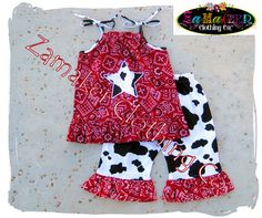 Girl Cow Outfit Pant Set Girl Cow Birthday by ZamakerrClothingCo outfits, birthdays, birthday idea, girl cow, 2nd birthday, moo parti, parti idea, mia moo