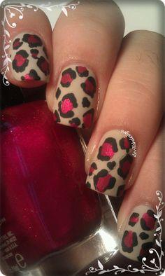 Matte nude & red shimmer leopard print nail art design (Essie Sand Tropez & Zoya Sarah)