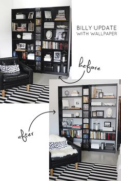 Ikea Billy bookcase update with wallpaper