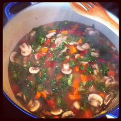 Feel Good Food: Kale, Mushroom and Bean Soup