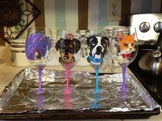 Wine glass painting on pinterest wine glass glass paint for Baking enamel paint on glass