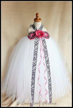 Flower Girl Zebra Tutu Dress