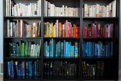 Bookshelves organized by color...oh my!