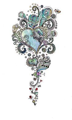 Heart swirls tattoo design. Love it!