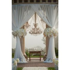 Great Gatsby Wedding Theme Inspiration  Beautiful drapes and chandeliers, amazing setting