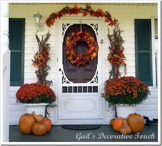 front door decor, the doors, fall outdoor decorating, porch decor, front doors, fall decorating, fall porches, screen doors, front porches