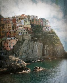 Dreamy, colorful, and edgy. Cinque Terre on the steep coast of Italy.