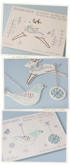 Deer and Bird Ornaments