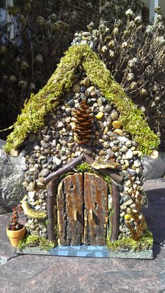 ♧ Charming Fairy Cottages ♧ garden faerie gnome  elf houses  miniature furniture - Woodland Fairy house - Moss, twigs and stones