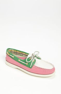 Pink and green sperrys