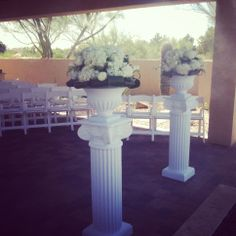 Ceremony decor, white hydrangea on empire pillars: Duffy/Baldo wedding.