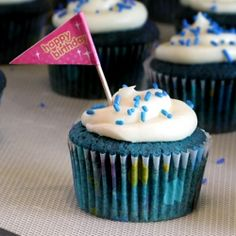 Blue Velvet Cupcakes for a blue-themed birthday party!