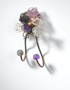 Decorative towel rack with purple  flowers by yehudalight on Etsy, $19.00