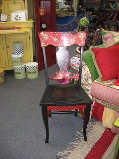 Dining room chair, red/black