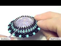 Beaded bezel resin cabs made with beads and peyote stitch and RAW technique | Beaded jewellry - YouTube