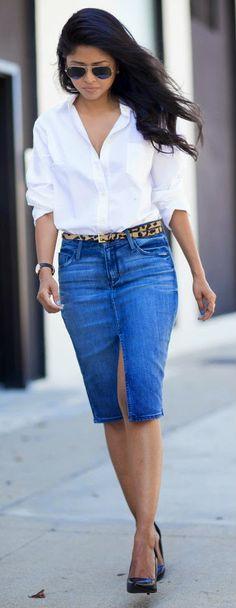 Everyday New Fashion: BOYFRIEND SHIRT AND DENIM SKIRT