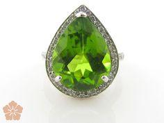Lauren K 18k white gold pear-shaped peridot ring