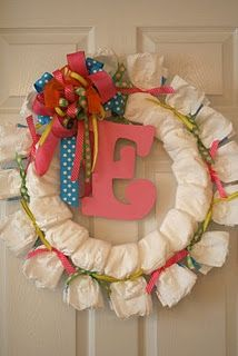 diaper wreath for a baby shower - too cute!