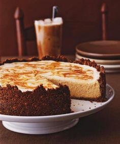 Pumpkin Cheesecake with a Caramel Swirl This fall dessert comes from ...