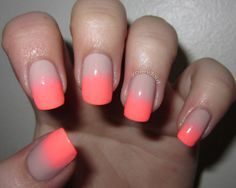 Nude and Neon gradient nail, ombre, coral, color, nail arts, pink, beauti, neon nails, hair