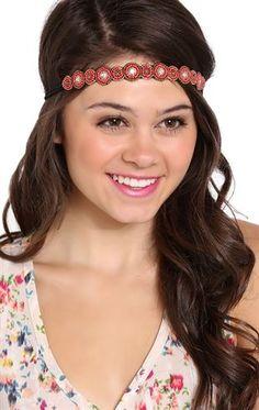 Deb Shops Scalloped Seed Bead Headband with Elastic Back $5.00