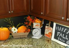 37 Awesome Fall Kitchen Décor Ideas : 37 Awesome Fall Kitchen Décor Ideas With Wooden Kitchen Island Cabinet And Pumpkin Decor