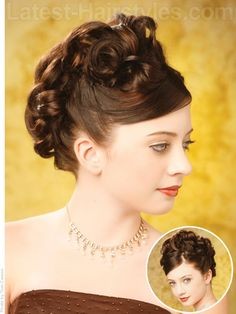 A winter formal dance updo hairstyle with curls