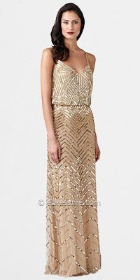 Sequined Zigzag Fully Beaded Gown by Adrianna Papell