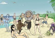 Mass Effect Crew on vacation by ~Birdz on deviantART