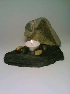 Tealight Candle Holder Slate Stone Pebbles by DeerwoodCreekGifts, $20.00