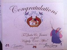 If you send a wedding invitation to Cinderella and Prince Charming (Cinderella & Prince Charming; PO Box 1000; Lake Buena Vista, FL 32830), they will send you an autographed congratulatory certificate back!