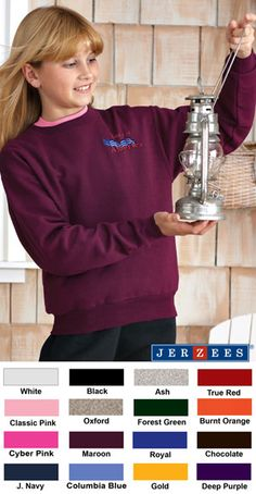 #jerzees #youth #crewneck #sweatshirt #corporate $15.95   Features: Pill-free 50% cotton and 50% polyester; set-in sleeves; 1x1 ribbed collar, cuffs and waistband with spandex; double-needle cover-seamed neck, shoulders, armholes and waistband; seamless body; 8-ounce.  http://ezcorporateclothing.com/custom/64-Youth-Apparel/862-Jerzees-Youth-Mid-Weight-Crewneck-Sweatshirt/