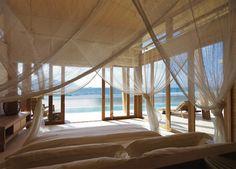 bedroom, beach