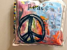 Mini Handmade Peace Pillow or Wall Hanging by destash4u on Etsy
