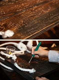 love this idea. bride and groom have a wooden swing that their wedding guests sign with a router.