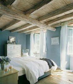 wall colors, exposed beams, blue walls, color blue, bedroom walls