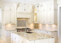Bianco Antico granite with white cabinets