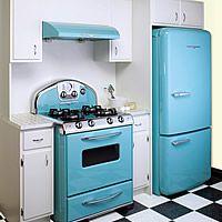 Retro blue kitchen appliances.