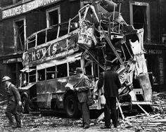 Double-decker Destroyed by Bomb - HU033641 - Rights Managed - Stock Photo - Corbis