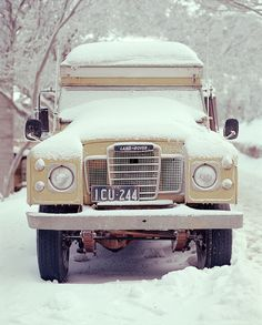 Snow! car, land rovers, new england, old trucks, vintage trucks, winter wonderland, snow, the road, land rover defender