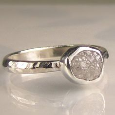 Natural Rough Diamond Engagement Ring...Gorgeous and affordable