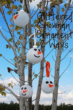Under The Table and Dreaming: Glittered Snowman Ornaments by Kelli at Random Thoughts of a Supermom {Ornament No.6}