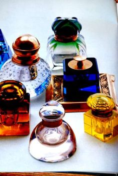 Colorful glass Inkwells