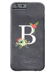chalkboard iphone 6 case with floral monogram | Swanky Press