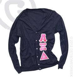 ALPHA XI DELTA CUSTOM GROUP ORDER ON SEWN ON CARDIGANS!!! YOU CAN DO THIS IN ANY VARIETY OF COLORS FOR YOUR CHAPTER!!