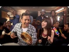 "Jimmy Fallon, The Roots and Carly Rae Jepsen performing ""Call Me Maybe"" using classroom instruments."