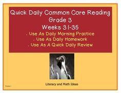 Brand New--Grade 3 Daily Common Core Reading Practice Weeks 31-35 {LMI} Five weeks of daily Common Core practice.  Informational text and literature are both included.