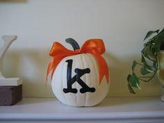 Monogrammed Pumpkin + bow